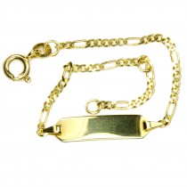 Taufarmband, Schildband, Armband Figaro, Gold 333 14cm