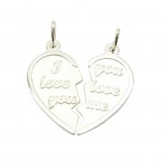 Anhänger, Herz mit 2 Ösen, geteiltes Herz, Silber 925