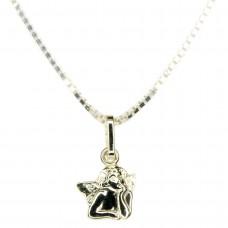 Set Anhänger kleiner Engel mit Venezianerkette 36cm, Silber 925