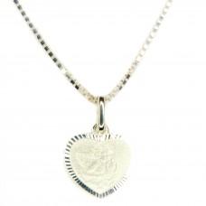 Set Anhänger mit Schutzengel im Herz und Venezianerkette 40cm, Silber 925