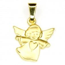 Anhänger, fliegender Engel mit Herz, 8Kt GOLD
