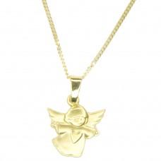 Set Anhänger fliegender Engel mit Herz 8Kt GOLD und Panzerkette 40cm goldplattiert