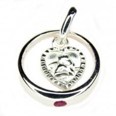 Kinderschmuck, Anhänger, Taufring 12mm mit Rubin und Herz, Silber 925