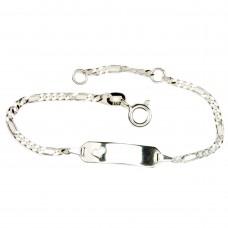 Taufarmband, Schildband, Armband Figaro, Silber 925 14cm