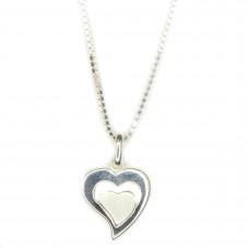 Set-Anhänger, Herz im Herz und Veneziakette 45cm, Silber 925