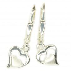 Ohrring, Ohrhänger, Brisur, Herz im Herz, Silber 925