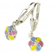 Kinderschmuck, Ohrring, Ohrhänger, Brisur Blume rosa-gelb-blau Silber 925
