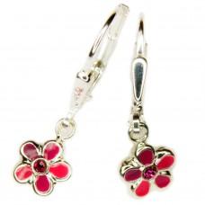 Kinderschmuck, Ohrring, Ohrhänger, Brisur, Blume pink-rosa-lila-lackiert Silber 925