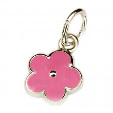 Kinderschmuck, Anhänger Blume rosa pink lackiert, Silber 925 rhodiniert