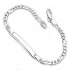 Schildband, Armband Figaro, Silber 925