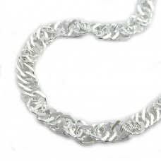 Kette, Singapur diamantiert Silber 925
