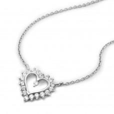 Kette mit Herz, rhodiniert, Silber 925