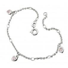 Kinderschmuck, Armband, Herz, Zirkonia pink, Silber 925