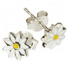 Ohrstecker Blume Edelweiß, gelb/weiß lackiert, Silber 925 hochwertig rhodiniert