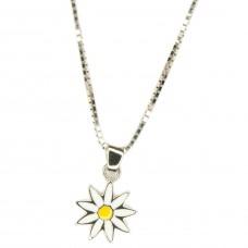 Anhänger Blume Edelweiß, gelb/weiß lackiert, Silber 925 hochwertig rhodiniert