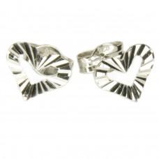 Ohrstecker, Stecker, offenes Herz diamantiert, echt Silber 925, hochwertig rhodiniert