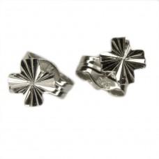 Ohrstecker Stecker, Kreuz Kleeblattform diamantiert, 925 hochwertig rhodiniert