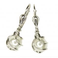Ohrring, Ohrhänger, Brisur, Wachsperle, Perle Imitat weiß, Silber 925 hochwertig rhodiniert