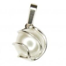 Anhänger, Perle Wachsperle weiß, Silber 925 hochwertig rhodiniert