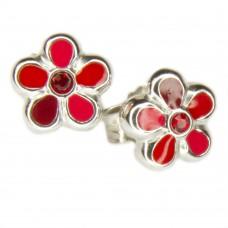 Kinderschmuck, Ohrstecker, Stecker, Blume rot lackiert mit Zirkonia Silber 925 hochwertig rhodiniert