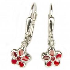 Kinderschmuck, Ohrring, Ohrhänger, Brisur, Blume rot-lackiert Silber 925 hochwertig rhodiniert