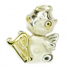 Anhänger Engel mit körperlicher Vorderseite, Silber 925, teilweise vergoldet