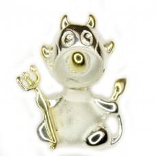 Anhänger Teufel mit körperlicher Vorderseite, Silber 925 teilweise vergoldet