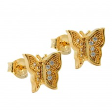 Ohrstecker, Stecker Schmetterling vergoldet 3 Micron