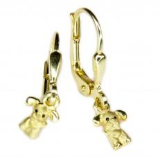 Kinderschmuck, Ohrring, Ohrhänger, Brisur, Hund matt-glänzend Vergoldet 925