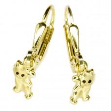 Kinderschmuck, Ohrring, Ohrhänger, Brisur, Katze matt-glänzend Vergoldet 925