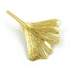 Brosche, 30mm Ginkgoblatt, 9Kt GOLD