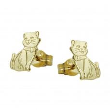 Ohrstecker, Stecker, Katzen teil-mattiert 8Kt GOLD