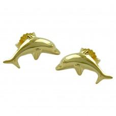 Ohrstecker, Stecker, Delfin glänzend, 9Kt GOLD