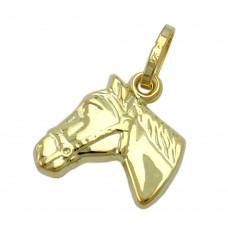 Anhänger, Pferdekopf glänzend, 9Kt GOLD