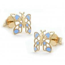 Ohrstecker, Stecker, Schmetterling blau, 9Kt GOLD