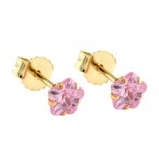 Ohrstecker, Stecker, Blume Zirkonia pink, 9Kt GOLD