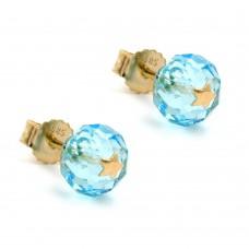 Ohrstecker, Stecker, Glas-aqua-blau Stern 14Kt GOLD
