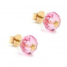 Ohrstecker, Stecker, Glas-rosa-pink Stern 14Kt GOLD