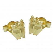 Ohrstecker, Stecker, Katzen matt-glänzend, 9Kt GOLD