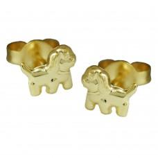 Ohrstecker, Stecker, Hund glänzend, 9Kt GOLD