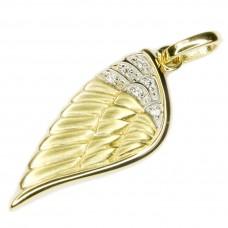 Anhänger Engelsflügel mit Zirkonias, Silber 925 vergoldet