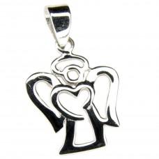 Anhänger, kleiner Engel filigran, Silber 925 rhodiniert