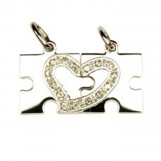 Anhänger, Puzzle mit Herz, Silber 925 rhodiniert