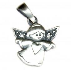 Anhänger, fliegender Engel mit Herz, Zirkonia, Silber 925, oxidiert geschwärzt