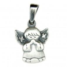 Anhänger, fliegender betender Engel, Zirkonia, Silber 925, oxidiert, geschwärzt