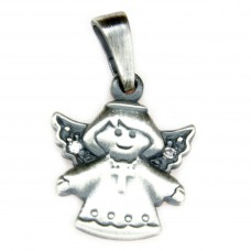 Anhänger, fliegender Engel mit Kreuz, Zirkonia, Silber 925, oxidiert, geschwärzt