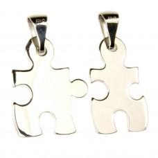 Anhänger, Freundschaftanhänger Puzzle -Teile getrennt, Silber 925, rhodiniert