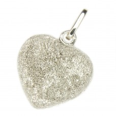 Anhänger, Herz diamantiert 20x13mm, Silber 925, rhodiniert