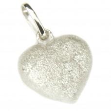 Anhänger, Herz diamantiert 15x10mm, Silber 925, rhodiniert