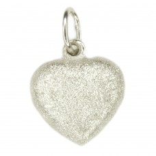 Anhänger, Herz diamantiert 13x8mm, Silber 925, rhodiniert